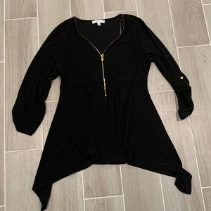Chaus Black Blouse with Gold Zipper